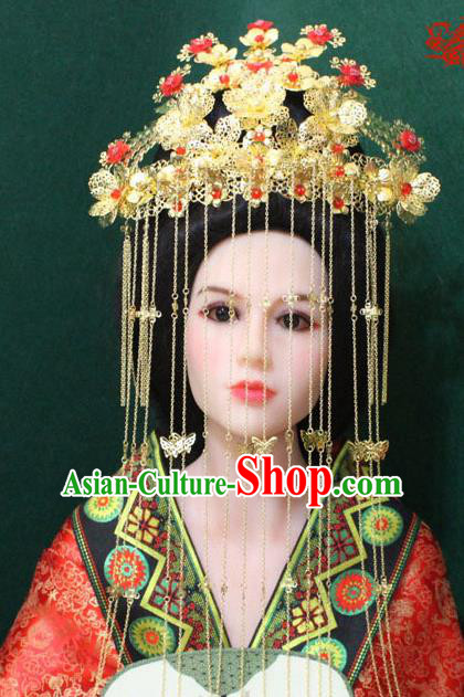 Traditional Handmade Chinese Hair Accessories Xiuhe Suit Phoenix Coronet, China Tang Dynasty Tassel Hairpins Complete Set for Women