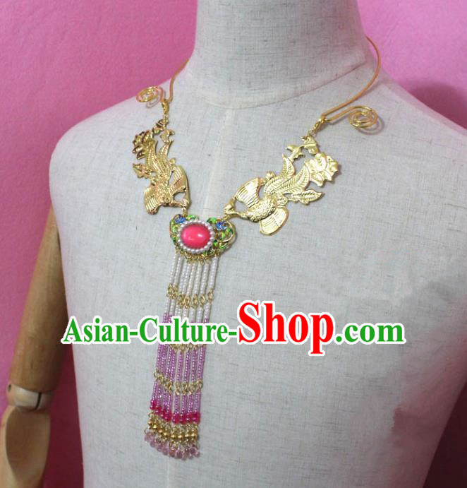 Traditional Handmade Chinese Jewelry Accessories Princess Phoenix Necklace, China Tang Dynasty Empress Tassel Necklet for Women