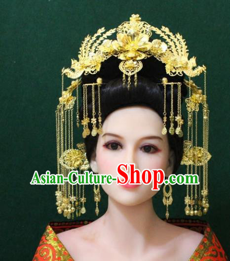 Traditional Handmade Chinese Hair Accessories Hanfu Phoenix Coronet, Royal Princess Tassel Hairpins Complete Set for Women