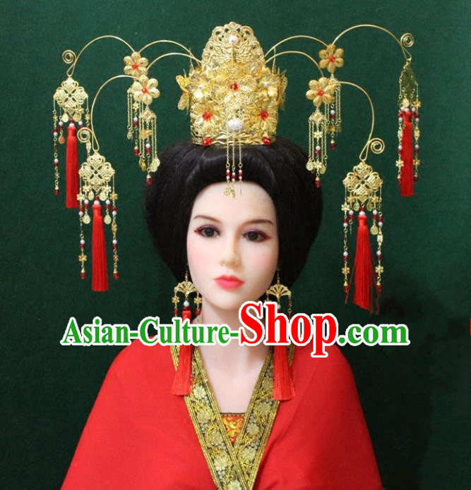 Traditional Handmade Chinese Hair Accessories Hanfu Empress Phoenix Coronet, Tang Dynasty Tassel Hairpins Headwear for Women