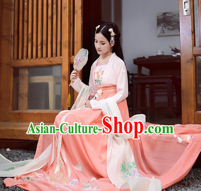 Asian China Ancient Tang Dynasty Hanfu Costume, Traditional Chinese Princess Embroidered Pink Blouse and Skirts for Women