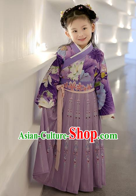 Asian China Ancient Han Dynasty Costume Purple Dress, Traditional Chinese Princess Embroidered Clothing for Kids