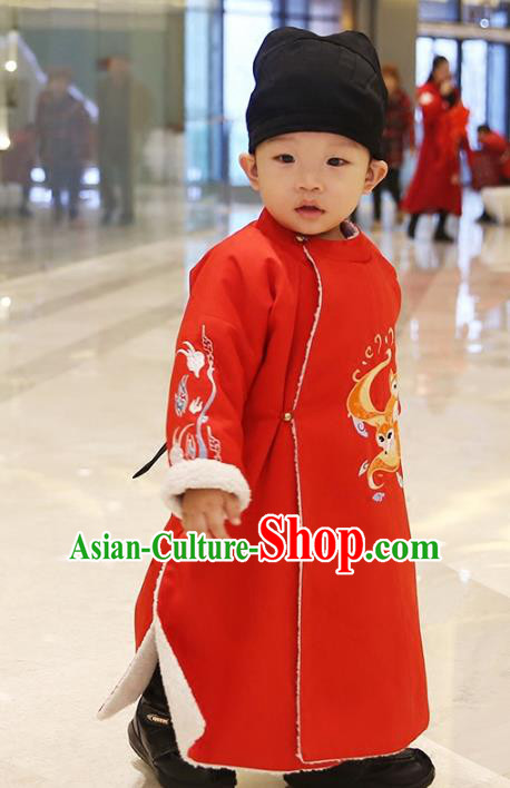 Traditional Chinese Ancient Hanfu Costume Embroidered Red Round Collar Robe, Asian China Ming Dynasty Palace Clothing for Kids