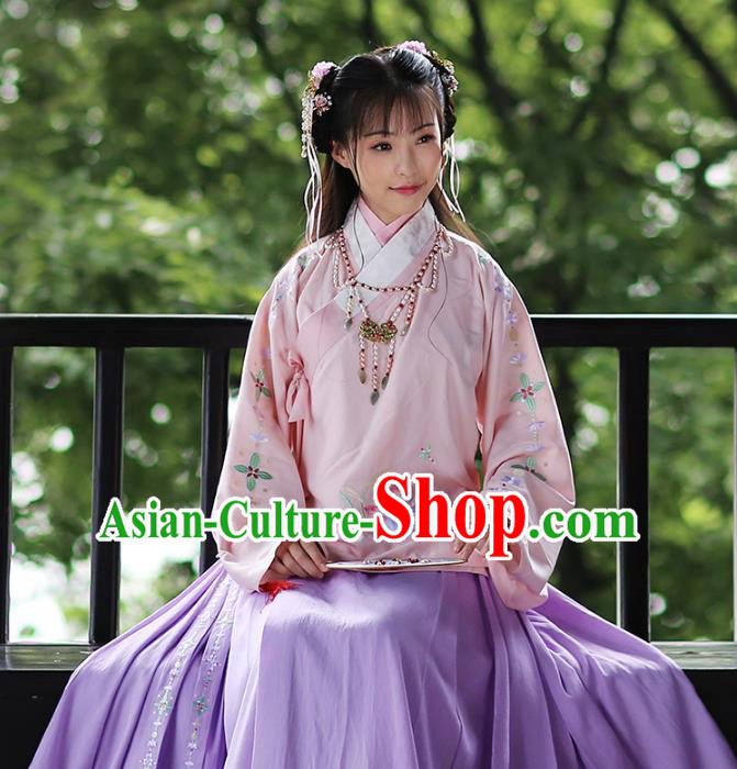 Traditional Chinese Ancient Hanfu Costume Embroidered Pink Blouse, Asian China Ming Dynasty Palace Lady Clothing for Women