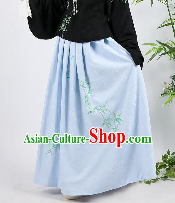Asian Chinese Ming Dynasty Imperial Princess Costume, Ancient China Palace Lady Embroidered Bamboo Blue Skirt for Women