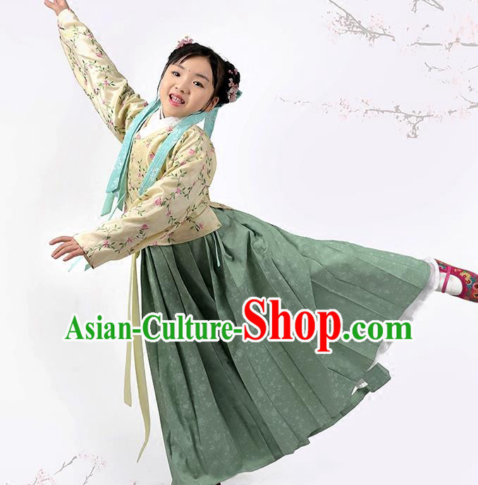 Asian Chinese Ming Dynasty Children Costume Blouse and Skirt, Ancient China Palace Lady Embroidered Clothing for Kids