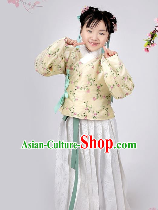 Asian Chinese Ming Dynasty Children Costume Yellow Blouse and Skirt, Ancient China Palace Lady Embroidered Clothing for Kids