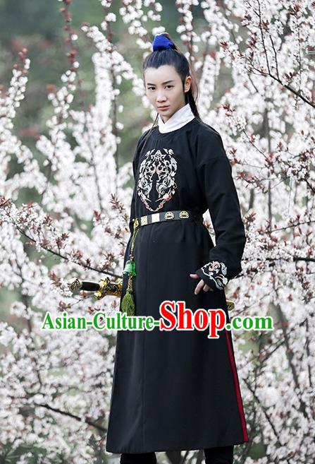 Traditional Chinese Ancient Hanfu Swordswoman Costume Embroidered Long Robe, Asian China Ming Dynasty Imperial Guards Clothing for Women