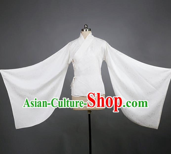 Traditional Chinese Ancient Hanfu Costume White Blouse, Asian China Han Dynasty Princess Underpants Clothing for Women