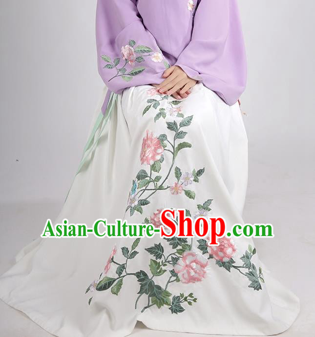 Asian Chinese Ming Dynasty Princess Costume Embroidery Peony White Skirts, Ancient China Palace Lady Embroidered Dress for Women