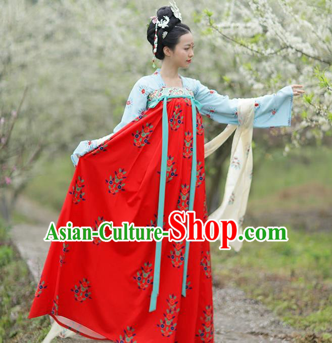 Traditional Chinese Ancient Hanfu Costume Blue Blouse and Red Skirts Complete Set, Asian China Tang Dynasty Princess Embroidered Clothing for Women