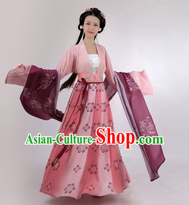 Traditional Chinese Ancient Princess Hanfu Embroidered Costume Complete Set, Asian China Tang Dynasty Palace Lady Clothing for Women