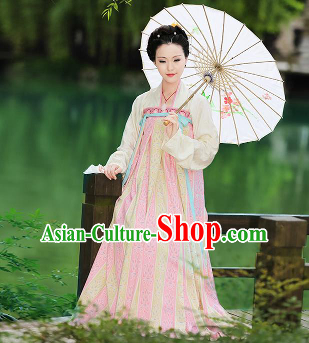 Asian Chinese Tang Dynasty Hanfu Imperial Concubine Costume, Traditional China Ancient Princess Dress Clothing for Women