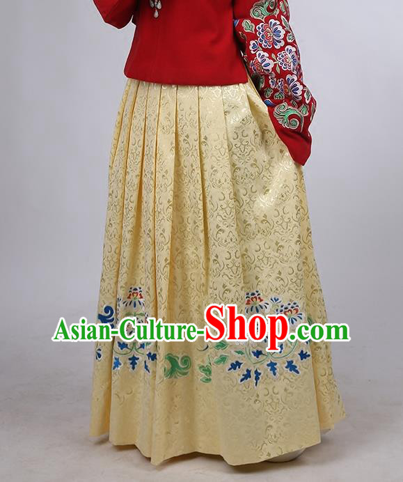 Asian Chinese Ming Dynasty Hanfu Costume Yellow Satin Embroidery Skirt, Traditional China Ancient Embroidered Dress Clothing for Women