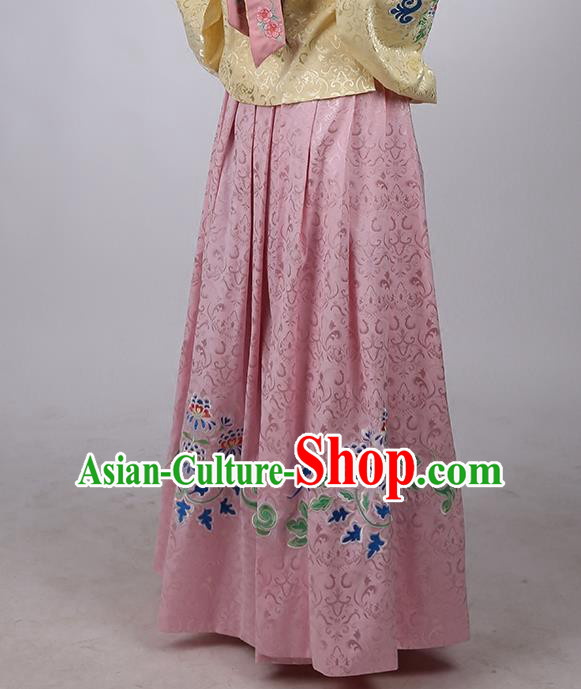 Asian Chinese Ming Dynasty Hanfu Costume Pink Satin Embroidery Skirt, Traditional China Ancient Embroidered Dress Clothing for Women