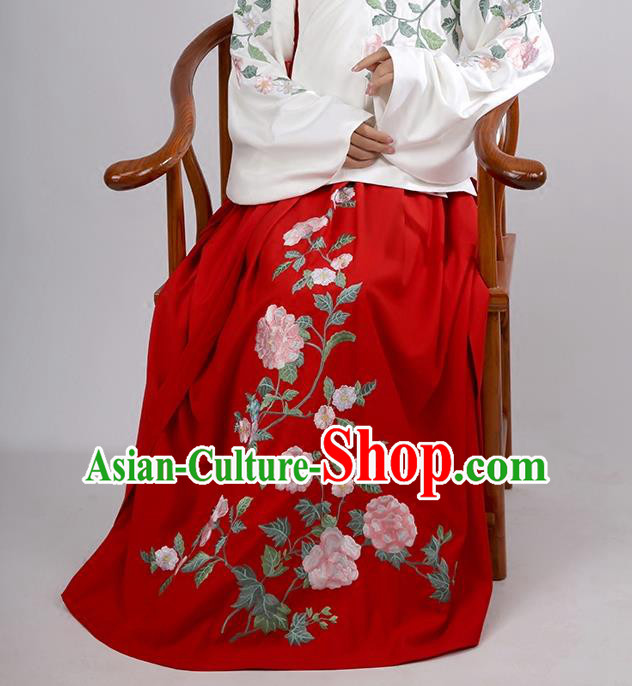Asian Chinese Ming Dynasty Costume Hanfu Embroidery Red Skirt, Traditional China Ancient Embroidered Dress Clothing for Women