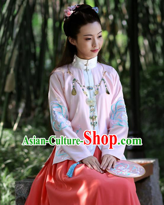 Asian Chinese Ming Dynasty Hanfu Costume Embroidered Pink Blouse, Traditional China Ancient Princess Upper Outer Garment Clothing for Women