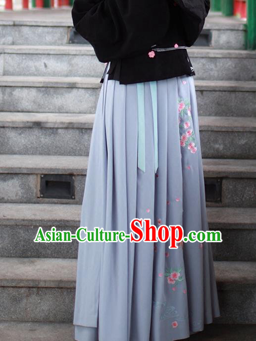 Asian Chinese Song Dynasty Young Lady Costume Hanfu Embroidered Peach Blossom Grey Skirt, Traditional China Ancient Princess Dress for Women