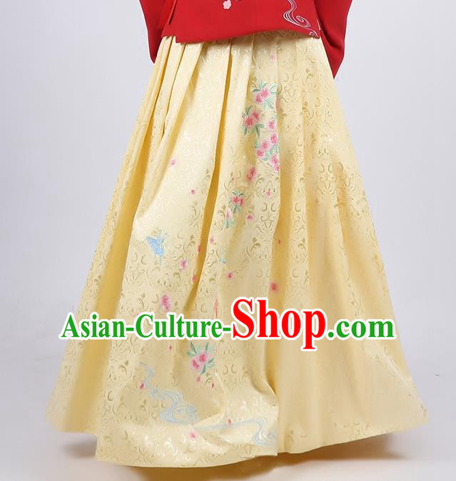 Asian Chinese Song Dynasty Young Lady Costume Hanfu Embroidered Peach Blossom Yellow Skirt, Traditional China Ancient Princess Dress for Women