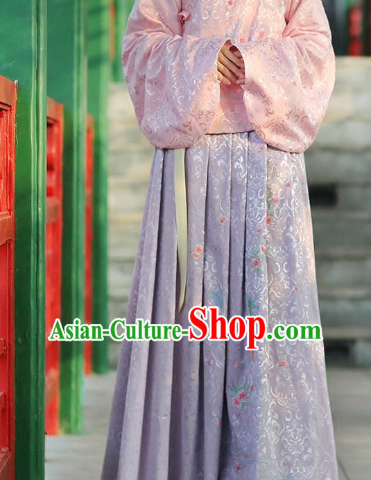 Asian Chinese Song Dynasty Young Lady Costume Hanfu Embroidered Peach Blossom Lilac Skirt, Traditional China Ancient Princess Dress for Women