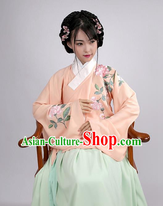 Asian Chinese Ming Dynasty Young Lady Costume Hanfu Embroidered Pink Blouse, Traditional China Ancient Princess Upper Outer Garment for Women