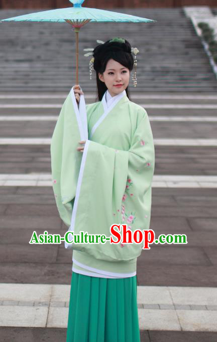 Asian Chinese Han Dynasty Imperial Princess Green Curve Bottom Costume, Traditional China Ancient Palace Lady Embroidered Dress for Women