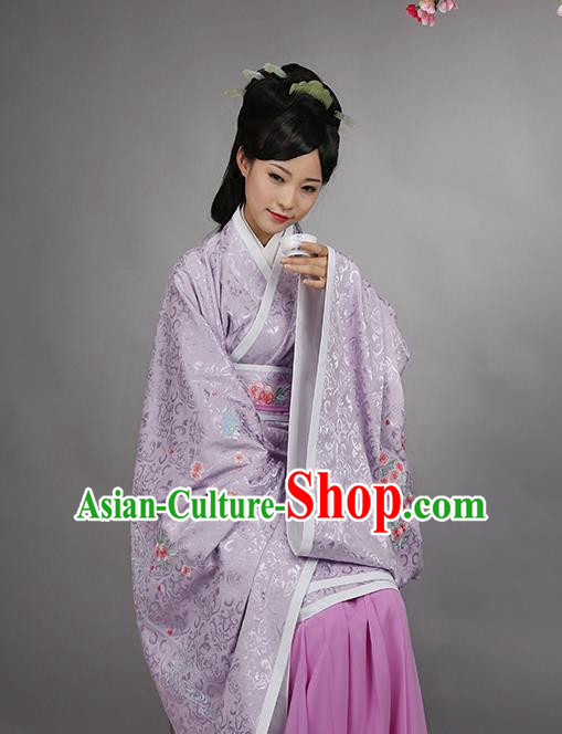 Asian Chinese Han Dynasty Imperial Princess Purple Curve Bottom Costume, Traditional China Ancient Palace Lady Embroidered Dress for Women