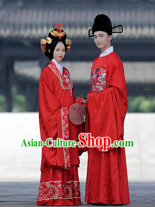 Asian Chinese Ming Dynasty Bride and Bridegroom Wedding Costume Complete Set, Traditional China Ancient Embroidered Red Clothing