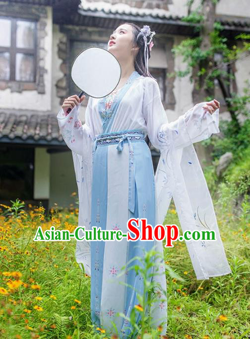 Asian Chinese Tang Dynasty Imperial Princess Costume, Ancient China Palace Lady Printing Blue Dress Clothing