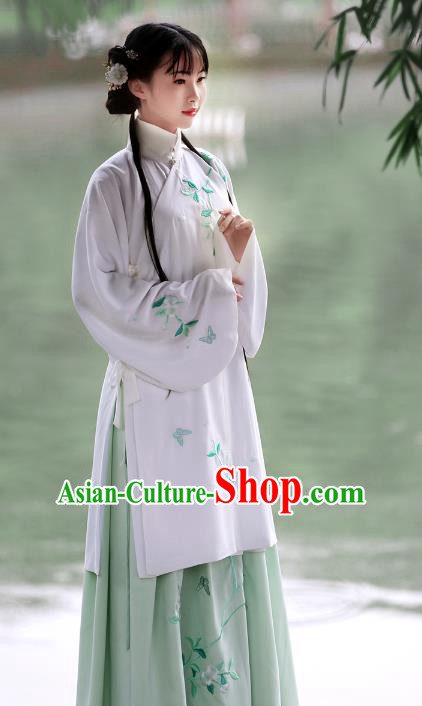 Asian Chinese Ming Dynasty Princess Costume Hanfu Embroidery White Coat, Traditional China Ancient Embroidered Dress Clothing for Women