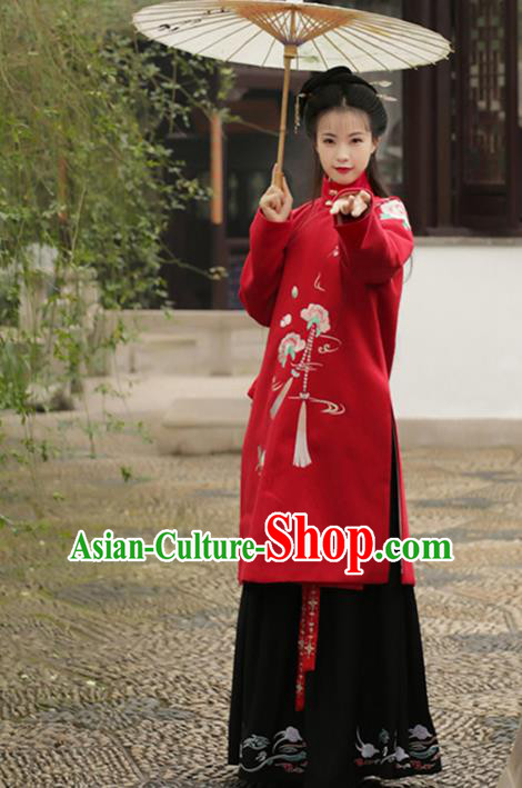 Asian Chinese Ming Dynasty Imperial Princess Costume, Ancient China Palace Lady Embroidered Coat Long Blouse for Women