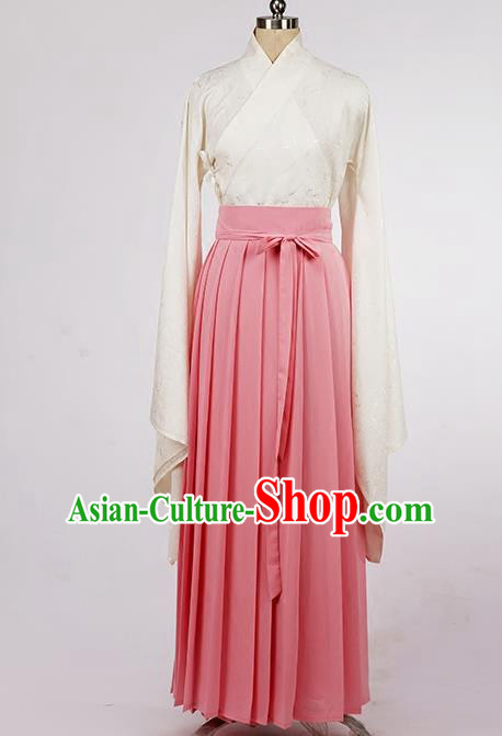 Asian Chinese Ming Dynasty Young Lady Costume, Ancient China Princess Pink Yellow Skirt Clothing for Women