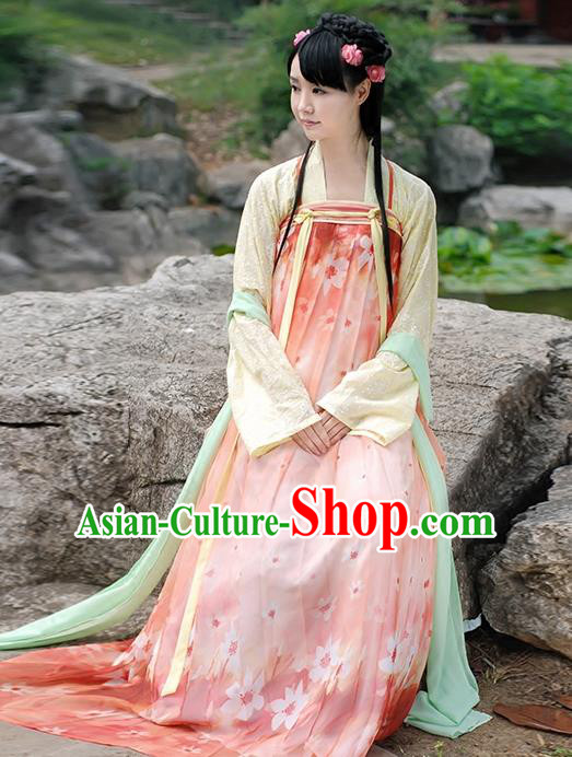 Asian Chinese Tang Dynasty Young Lady Costume, Ancient China Princess Printing Pink Slip Skirt Clothing for Women