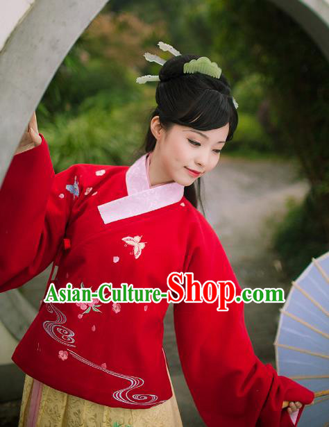 Asian Chinese Ming Dynasty Princess Costume Embroidery Red Blouse, Ancient China Palace Lady Embroidered Upper Outer Garment Clothing for Women