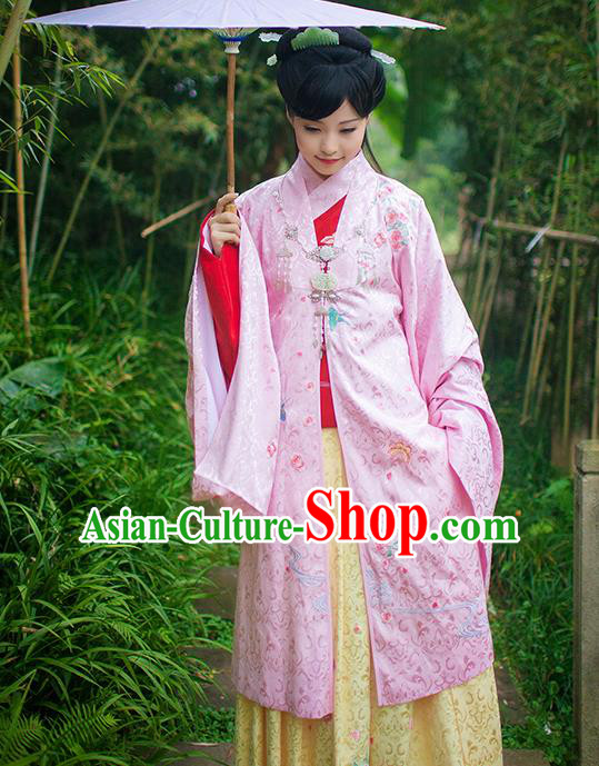 Asian Chinese Ming Dynasty Princess Costume Embroidery Pink Cloak, Ancient China Palace Lady Embroidered Cardigan Clothing for Women