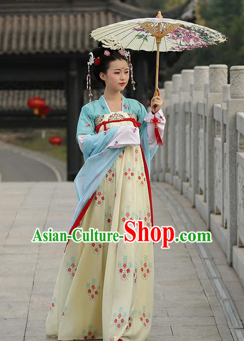 Asian Chinese Tang Dynasty Princess Costume Embroidery Dress, Ancient China Palace Lady Embroidered Clothing for Women