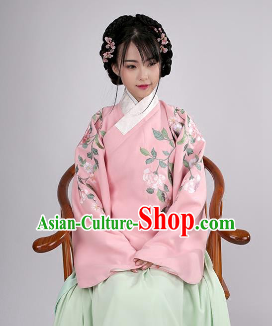 Asian Chinese Ming Dynasty Young Lady Costume Pink Embroidery Wool Blouse, Ancient China Princess Embroidered Clothing for Women