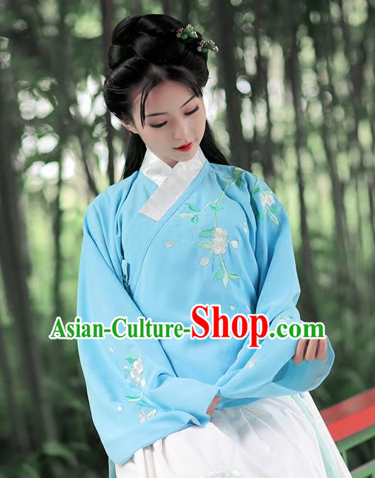 Asian Chinese Ming Dynasty Young Lady Costume Blue Blouse, Ancient China Princess Embroidered Hanfu Clothing for Women