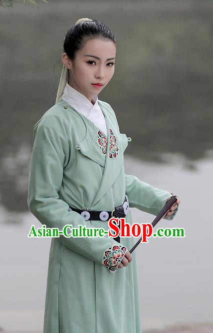 Asian Chinese Ming Dynasty Swordswoman Costume Green Long Robe, Ancient China Imperial Guards Embroidered Hanfu Clothing for Women