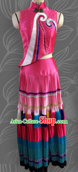 Traditional Chinese Zhuang Nationality Dancing Costume Folk Dance Ethnic Pleated Skirt, Chinese Minority Embroidery Clothing for Women