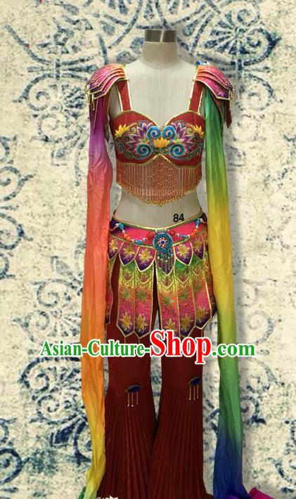 Traditional Chinese Dunhuang Flying Apsaras Dancing Costume, Chinese Folk Dance Water Sleeve Clothing for Women