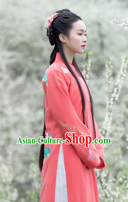 Asian Chinese Song Dynasty Young Lady Costume Peach Pink BeiZi, Ancient China Princess Embroidered Hanfu Cardigan Clothing for Women