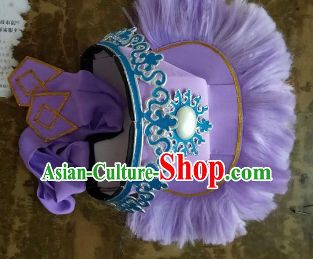Traditional Chinese Peking Opera Old Men Purple Hats, China Ancient Beijing Opera Ministry Councillor Headwear for Men