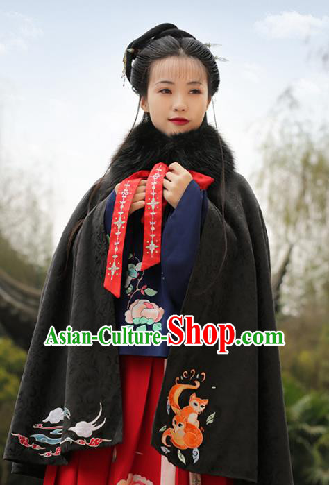 Asian Chinese Ming Dynasty Young Lady Embroidered Black Wool Cloak, Ancient China Princess Hanfu Short Mantle Clothing for Women
