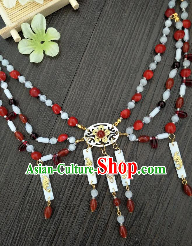 Traditional Handmade Chinese Accessories Shell Necklace, China Palace Lady Hanfu Tassel Necklet for Women