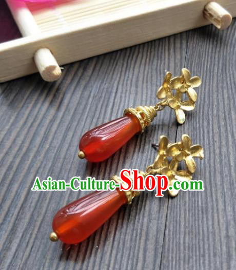 Traditional Handmade Chinese Hanfu Accessories Copper Earrings, China Palace Lady Tassel Red Agate Eardrop for Women