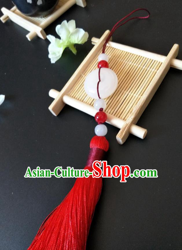 Traditional Handmade Chinese Hanfu Accessories Jade Pendant, China Palace Lady Red Tassel Waist Pendant for Women