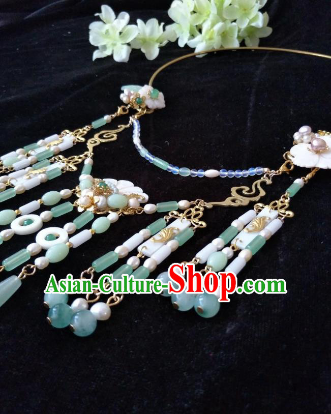 Traditional Handmade Chinese Accessories Shell Necklace, China Palace Lady Hanfu Green Beads Tassel Necklet for Women