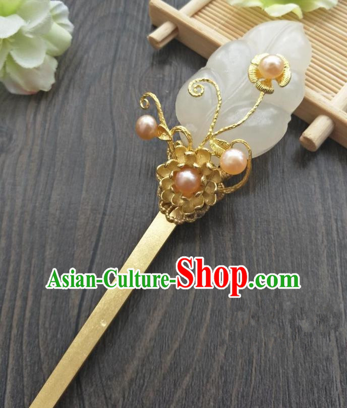 Traditional Handmade Chinese Hair Accessories Copper Jade Hairpins, China Palace Lady Hanfu Hair Stick for Women