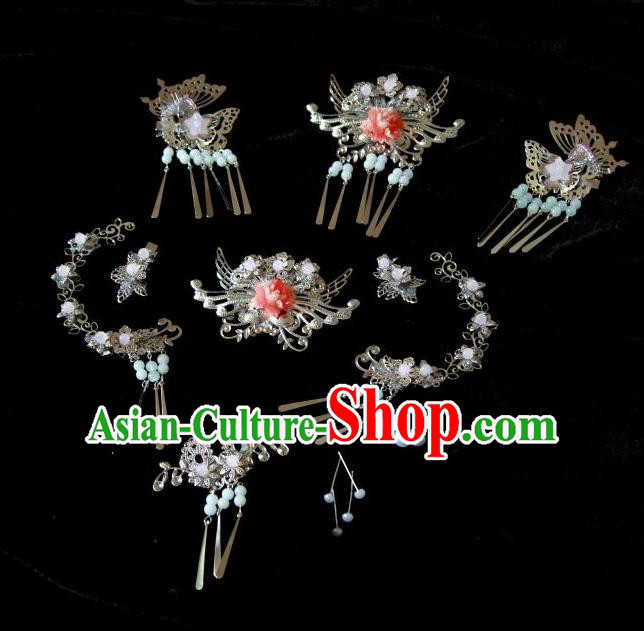 Traditional Handmade Chinese Hair Accessories Complete Set, China Qin Dynasty Tassel Hair Claw Hairpins for Women